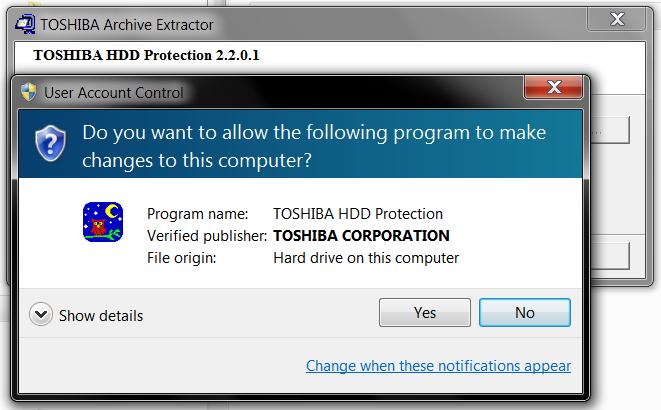 ... Toshiba HDD Protection Utility - Windows 7 x64 Windows 7 32-bit driver